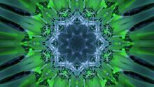 Glowing Green Kaleidoscope Ornament 3d Illustration