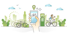 Bike Sharing As Public Ride For Urban City Transportation Outline Concept