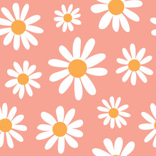 Spring Daisies Floral Retro Pattern. Large Scale Daisy / Chamomile Flowers On Coral Pink Background. Trendy Bohemian Indie Style Girly Illustration Print. Seamless Pattern Vector, Isolated Elements.