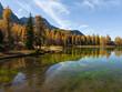 Lago San Pellegrino (Lech de San Pelegrin) during fall at Passo San Pellegrino in the Dolomites. Italy.