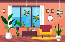 Tropical Houseplant Green Decorative Plant In Living Room Illustration