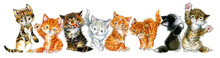 Watercolor Cute Cats Isolate On White. Cartoon Kittens