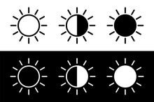 Screen Brightness Sun Icon. Brightness Contrast Sign For Apps And Websites. Contrast Level Icons In Flat Style. Vector Illustration.