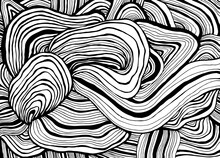 Black And White Waves Creative Decorative Abstract Background, Psychedelic Coloring Page For Adults.