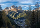 View of Langkofel (Sasso Lungo) from Val Contrin in the Marmolada mountain range in the Dolomites. Dolomites are part of the UNESCO World Heritage Site.