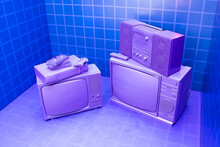 VCR For Videotapes, A Game Joystick Lie On A Violet, Purple Vintage TV. Concept For The Return Of The Lifestyle Of Youth And Adolescents In The 80s And 90s.