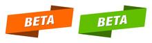 Beta Banner. Beta Ribbon Label Sign Set