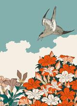 Cuckoo And Azaleas Japanese Woodblock Print Style Vector Illustration
