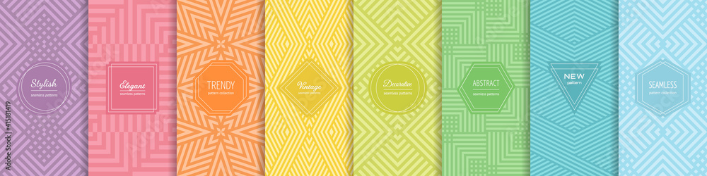 Fototapeta Rainbow vector geometric seamless patterns collection. Set of bright colorful backgrounds with modern minimal labels. Cute abstract geometrical textures. Simple pattern design for babies, kids, decor