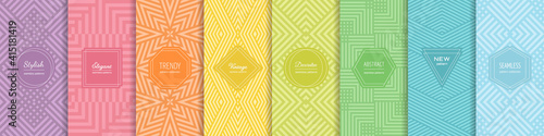 Fototapeta Rainbow vector geometric seamless patterns collection. Set of bright colorful backgrounds with modern minimal labels. Cute abstract geometrical textures. Simple pattern design for babies, kids, decor obraz