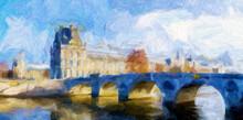 Impressionnisme. Paris. France. Le Musée Du Louvre , Le Pont Royal Et La Seine Vus Depuis Le Quai Anatole France.