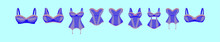 Set Of Bustier Cartoon Icon Design Template With Various Models. Vector Illustration Isolated On Blue Background