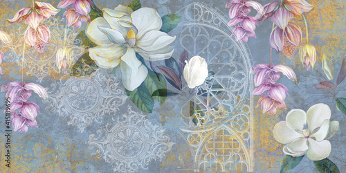 Fototapeta Design for mural, wallpaper, photo wallpaper, card, postcard