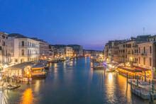 Italy, Venice. Grand Canal At Twilight From Rialto Bridge