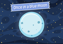 Idiom Poster With Once In A Blue Moon