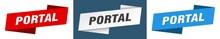 Portal Banner. Portal Ribbon Label Sign Set