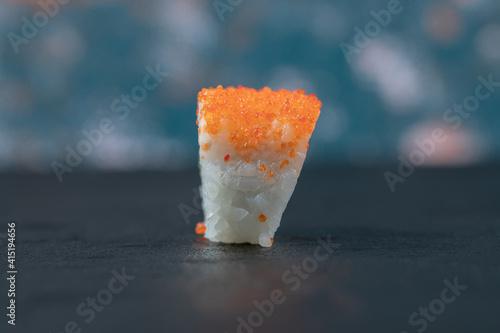 Fototapeta Mini sushi maki rolls isolated on grey background obraz
