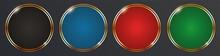 Round Button Set With Gold Frame On Dark Background