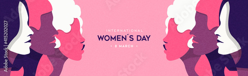 Women's Day pink woman face group banner © cienpiesnf