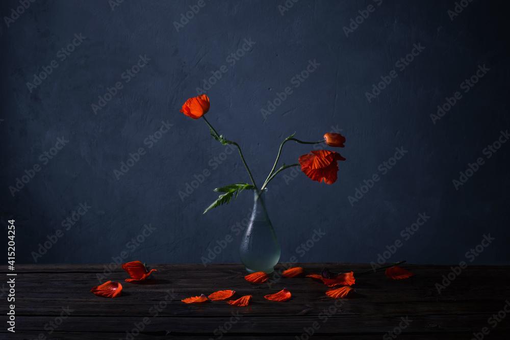Fototapeta red poppies in vase on wooden table on dark blue background