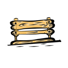 Color Clip Art From A Wooden Bench.