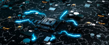 Futuristic Style Circuit Board With Illuminated Processor Sending Electric Pulses Of Information Along The Wires Concept 3d Render