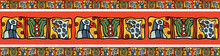 South American Colorful National Style Ethnic Border Ornament Of Maya Or Aztec Art, Colorful Eagles, Leopard, Cactus Motifs, For Custom Design, Background, Textile
