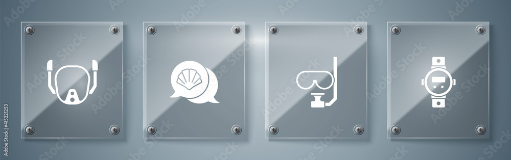 Fototapeta Set Diving watch, mask and snorkel, Scallop sea shell and . Square glass panels. Vector.