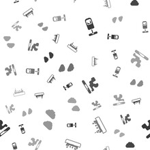 Set Trash Can, Oil Tanker Ship, Cigarette And Cloud On Seamless Pattern. Vector.