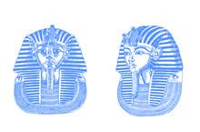 Graphical Color Set Of Tutankhamunes Isolated On White Background,vector Illustration