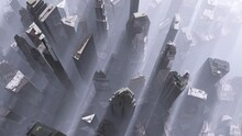 Modern City From A Height Of Flight In The Fog, Skyscrapers In The Fog From Above, 3D Rendering