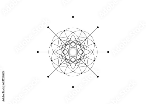 Photographie Sacred Geometry, Seed of life, star symbol