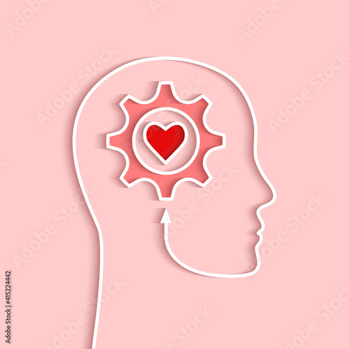 Head outline with gear and heart concept. Vector illustration in papercut style and shadow on light pink background. Wall mural