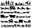 Wild west cowboy with longhorn horse stagecoach carriage icons vector silhouette collection
