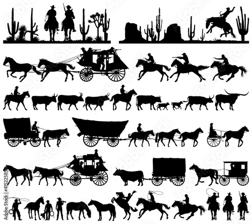 Tela Wild west cowboy with longhorn horse stagecoach carriage icons vector silhouette