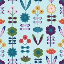 Modern One-Way Scandinavian Seamless Floral Pattern Background