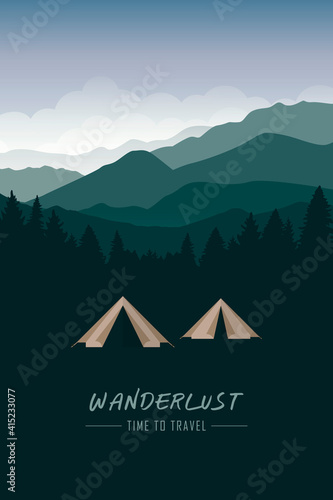 Fotografia camping adventure tent at green mountain and forest landscape vector illustratio