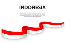 Waving Ribbon Or Banner With Flag Of Indonesia