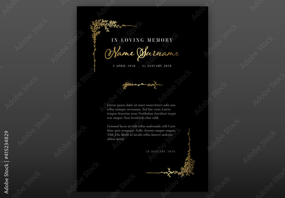 Fototapeta Black Funeral Notice Condolence Card Layout with Floral Golden Elements