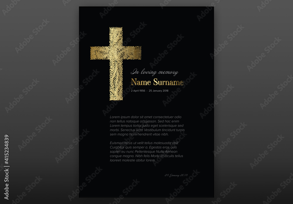 Fototapeta Black Funeral Notice Condolence Card Layout with Golden Cross