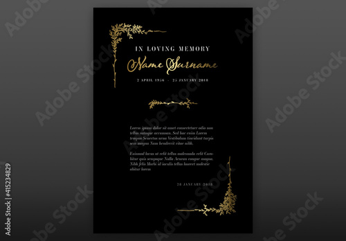 Fototapeta Black Funeral Notice Condolence Card Layout with Floral Golden Elements obraz