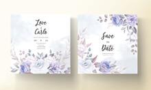 Beautiful Wedding Invitation Card With Purple Flower Ornament