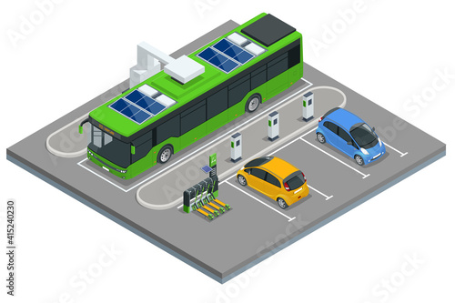Papel de parede Isometric An electric bus, a bus that is powered by electricity