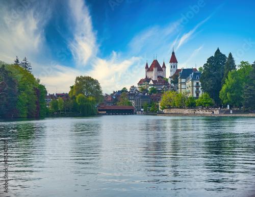 Canvas Thun town from Thun Lake