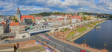 Panoramiczny Widok Z Lotu Ptaka Na Bulwar Wschodni I Katedrę W Centrum Miasta Gorzów Wielkopolski