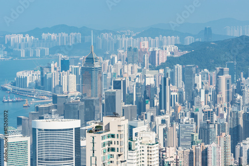 View of Central District at day time. Hong Kong.