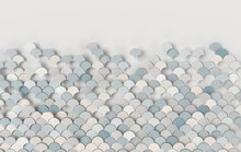 Mermaid Fish, Dragon Scales, Reptile Skin, Wave 3d Rendering. Ceramic Tile. 3d Wall Texture, Roof Tiles. Pastel Colored Adstract Background For Interior Design