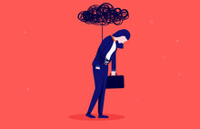 Businesswoman Depression - Woman Tied Up With Black Cloud From Overwork. Brain Fog And Depression Concept. Vector Illustration.