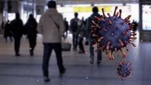 3D Illustration Virus Covid19 Floating In The Air. Japanese Passengers On Metro