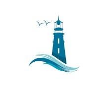 Lighthouse Logo With Abstract Wave Combination